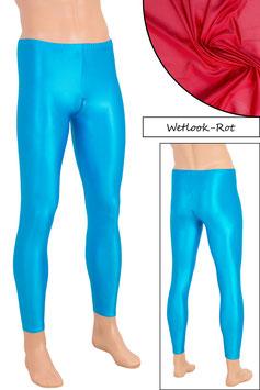 Herren Wetlook Leggings mit Schritt-RV rot