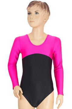 """Kinder Gymnastikanzug """"Gina"""" pink (oben) - schwarz"""