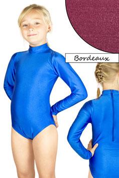 Kinder Gymnastikanzug lange Ärmel Kragen Rücken-RV bordeaux