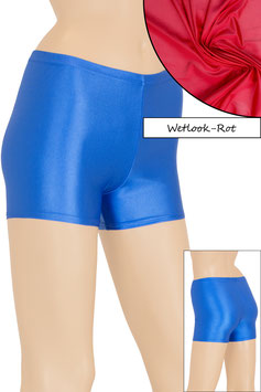 Damen Wetlook Hotpant rot