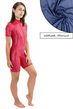 Damen Wetlook Ganzanzug kurze Ärmel und Beine FRV marine