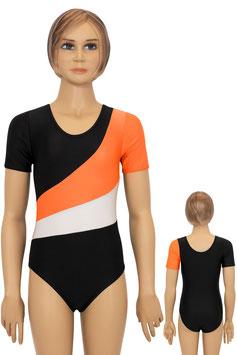 """Turnanzug """"Diana"""" kurze Ärmel schwarz-orange-weiß"""