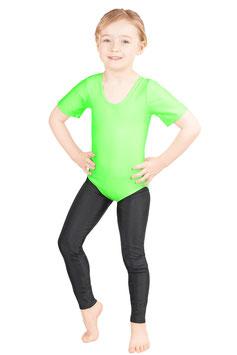 Kinder Gymnastikanzug kurze Ärmel neongrün
