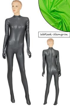 Damen Wetlook Ganzanzug RRV+Hand+Fuß neongrün