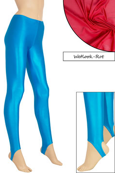 Damen Wetlook Leggings mit Schritt-RV rot