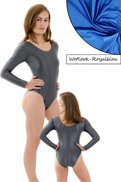 Damen Wetlook Body lange Ärmel Royalblau