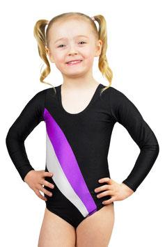 """Kinder Gymnastikanzug """"Claudia"""" schwarz-lila-weiß"""