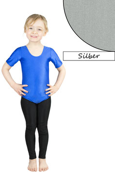 Kinder Gymnastikanzug kurze Ärmel silber