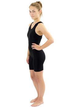 Damen Fitnessganzanzug Radlerbeine Boxerschnitt schwarz