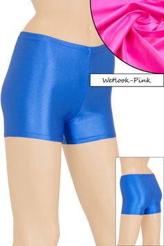 Damen Wetlook Hotpant pink