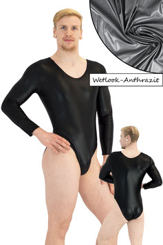 Herren Wetlook Body lange Ärmel anthrazit