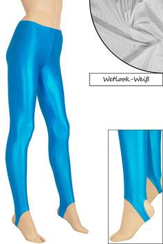 Damen Wetlook Leggings mit Schritt-RV weiß