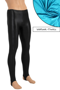 Herren Wetlook Leggings mit Steg türkis