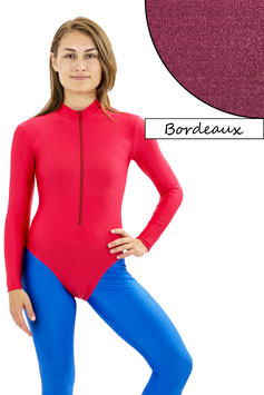 Damen Body lange Ärmel Front-RV bordeaux