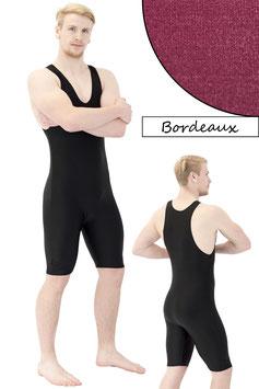 Herren Fitnessganzanzug Radlerbeine Boxerschnitt bordeaux