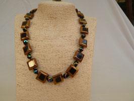 Halskette Glas schwarz-goldene Quadrate