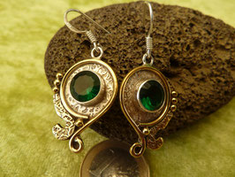 Ohrhänger Silber mit Messing & Chalcedon