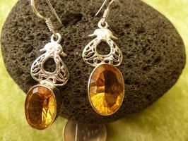 Ohrhänger Silber & Calcit orange