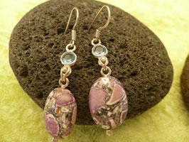 Ohrhänger Silber & Sediment-Jaspis lila & Chalcedon blau