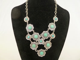 Collier Metall & Howlith blau