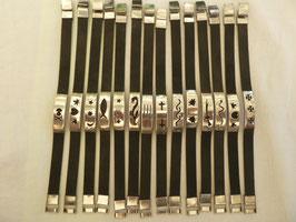 Armband Kautschuk schmal - Edelstahl