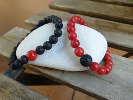 Armband Koralle & Lava * Partner-Set