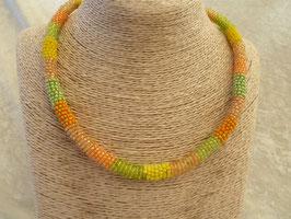 Roccailles-Afrika-Halskette gelb-grün