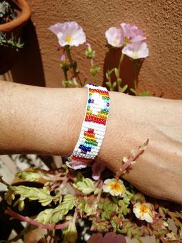 Rocailles-Webe-Armband - Herzen