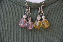 Ohrringe facettierte Kunststoff-Perlen