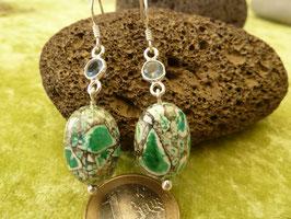 Ohrhänger Silber & Sediment-Jaspis grün & Chalcedon blau
