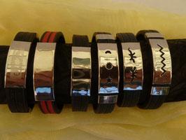 Armband Kautschuk breit - Edelstahl