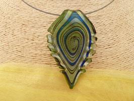 Glas-Kettenanhänger Blatt Spiralmuster