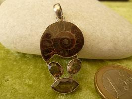 Kettenanhänger Silber & Ammonit & Rauchquarz