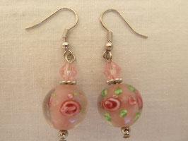 Ohrhänger Glaskugeln Rosenmuster