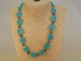 Halskette Glas blaue Quadrate
