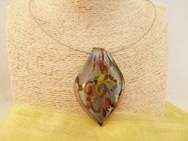 Glas-Kettenanhänger silber & bunt