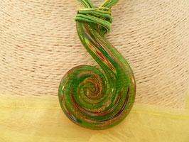 Glas-Kettenanhänger Schnörkel an 8-reihigem Schmuckband