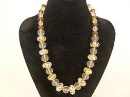 Halskette klare & goldfarbene Glaskugeln