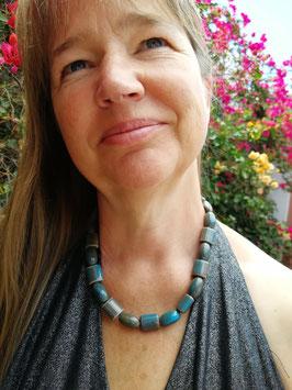 Halskette Keramik * Mustermix blau-grau