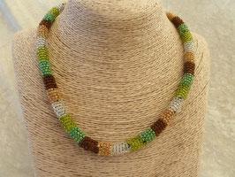 Rocailles-Afrika-Halskette grün-braun