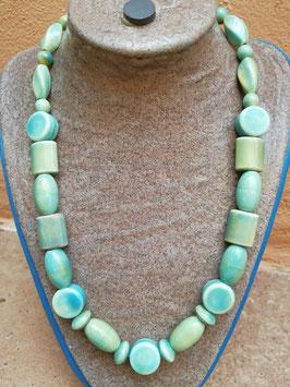 Halskette Keramik * Mustermix blau-gelb-grün