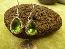 Ohrhänger Silber & Quarzkristall grün I