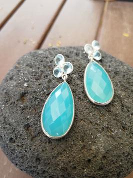 Ohrhänger Silber & Chalcedon blau & Aquamarin
