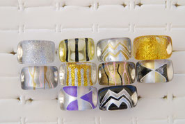 """Kunststoff-Ring """"gold & silber eckig"""""""