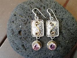 Ohrhänger Silber mit Messing & Kunzit