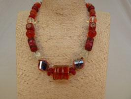 Halskette Glas Formenmix rot