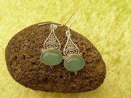 Ohrhänger Silber & Chalcedon blaugrün