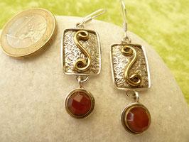 Ohrhänger Silber mit Messing & Karneol