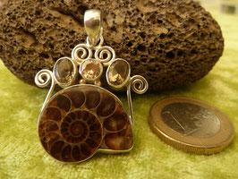 Kettenanhänger Silber & Ammonit & Rauchquarz & Citrin
