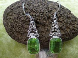 Ohrhänger Silber & Quarzkristall grün II